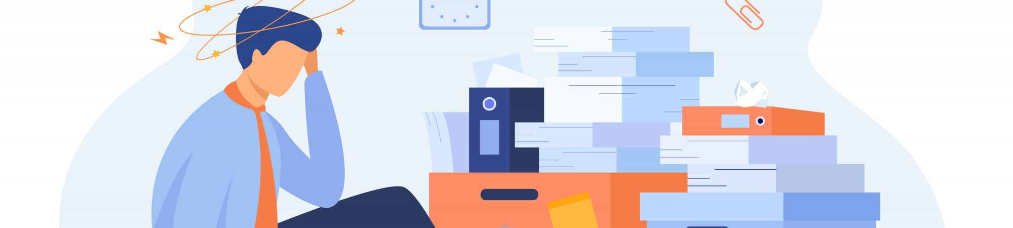 Tired man sitting on floor with paper document piles around flat vector illustration. Cartoon frustrated office employee doing paperwork. Business, fatigue and bureaucracy concept